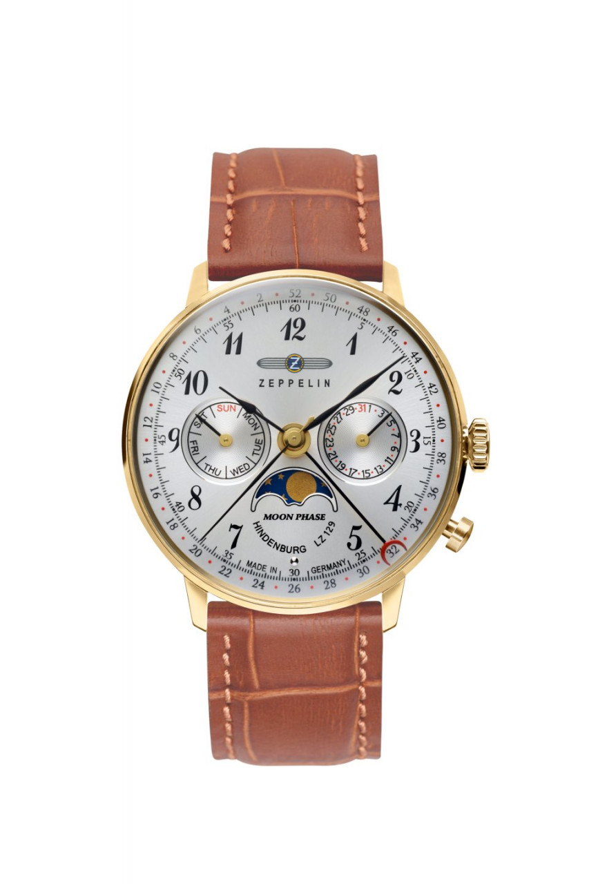 DAU, Zeppelin Hindenburg Moonphase Ronda 706B, Steelcase-GG 36mm, wr 3atm