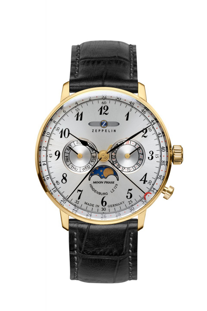 HAU, Zeppelin Hindenburg Moonphase Ronda 706B, Steelcase-GG 40mm, wr 3atm