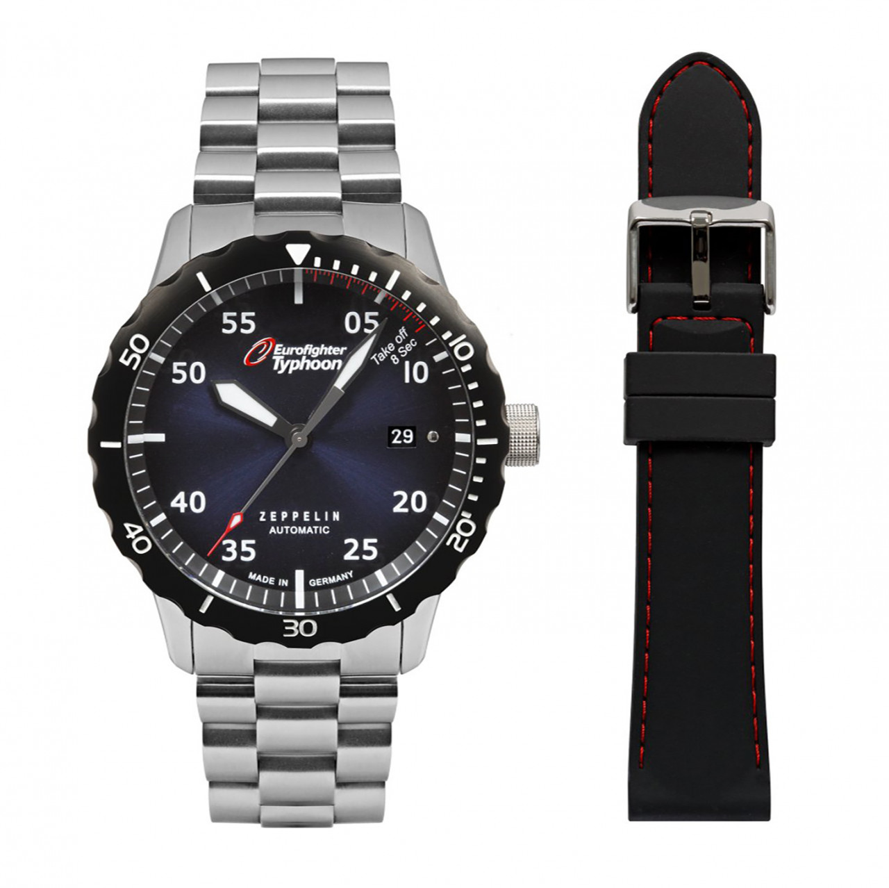 HAU, Zeppelin Automatic Ed. Eurofighter SET MB/SI Kal. 9015 24 Jewels, Steelcase Diver wr 20atm