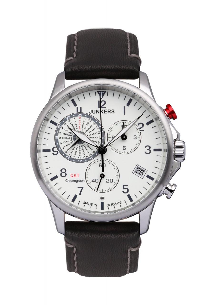 HAU, Junkers Tante JU Chronograph G10 ETA G10.962 GMT, Steelcase 10atm