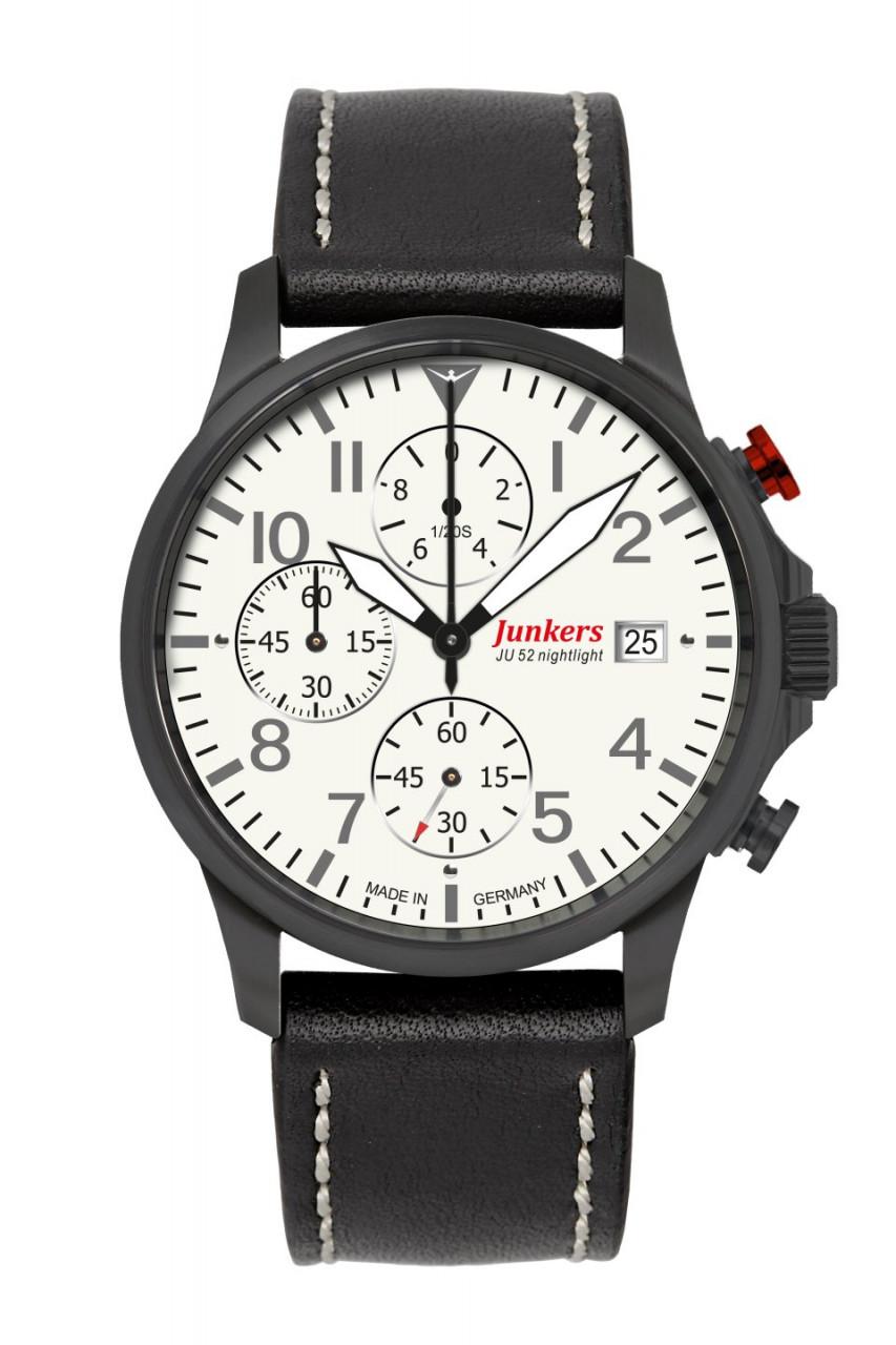 HAU, Junkers Tante JU Chronograph 6S10 Citizen 6S10, Steelcase DLC-black wr 10 atm