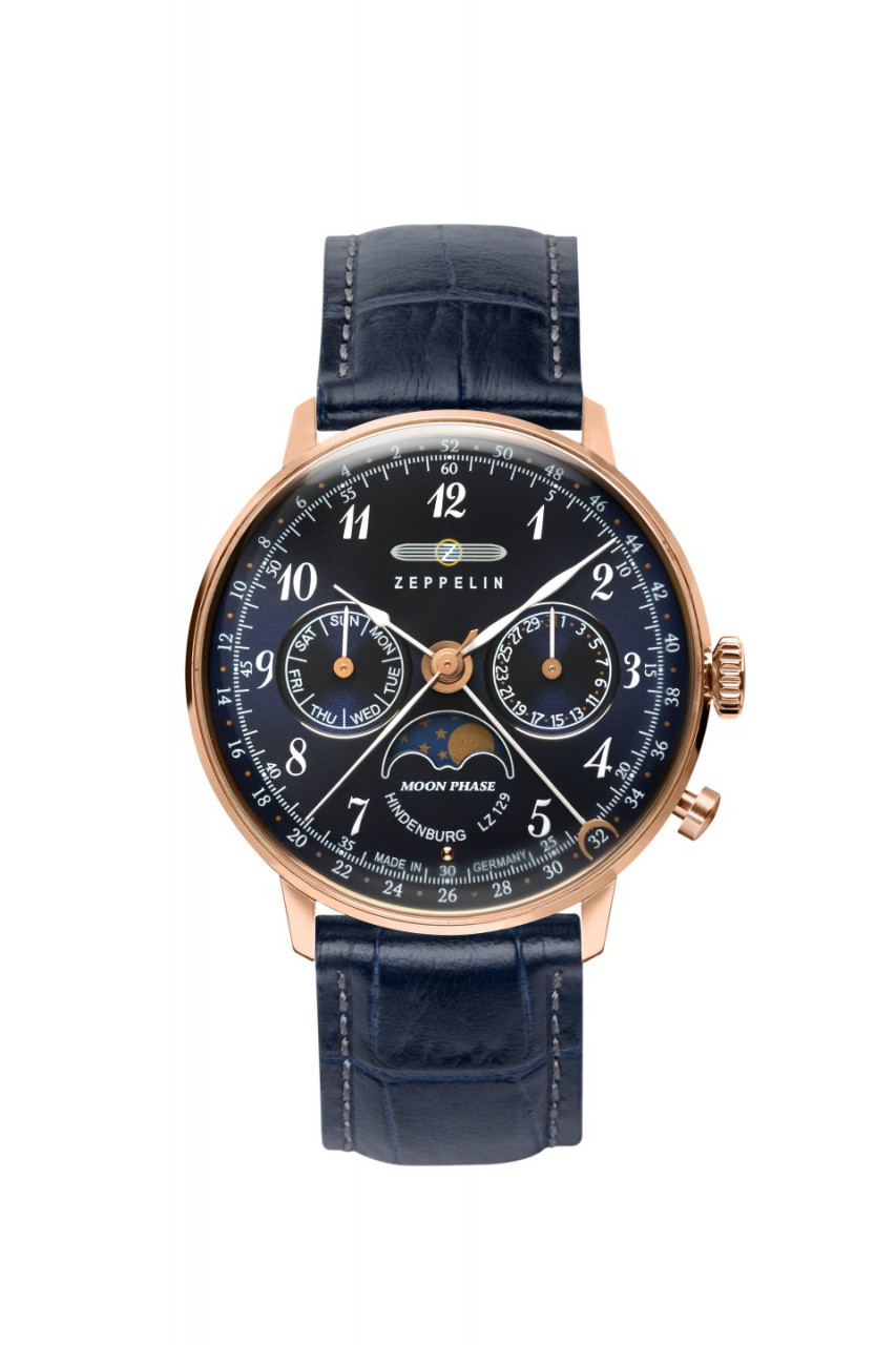 DAU, Zeppelin Hindenburg Moonphase Ronda 706B, Steelcase-RG 36mm, wr 3atm